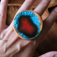 Cocktail Ring in Red Blue Orange by corico on Etsy
