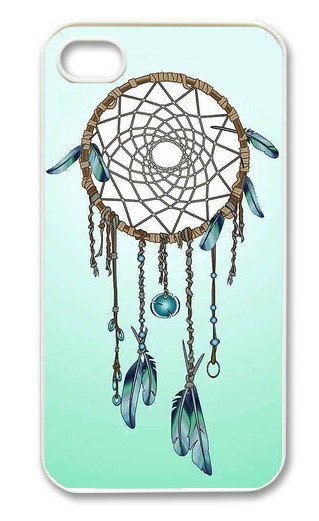 Teal &amp; Blue Dreamcatcher  On iPhone 4 Case, iPhone 4s Case, iPhone 4 Hard Case, iPhone Case-graphic Iphone case