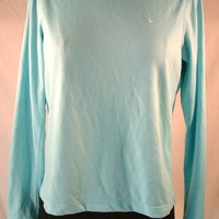 Women's Shirt Nike Dri-Fit Mesh athletic running tennis sz S (4-6) L/S blue