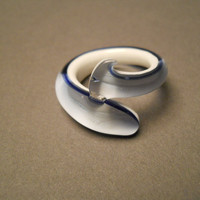 White and Blue Art Glass Ring
