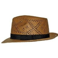 Havana Airway Panama Hat Brown Straw Snap brim Mens