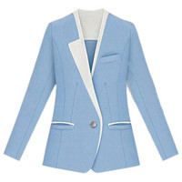 Color Block Blue Blazer [NCSUX0001] - $85.99 :