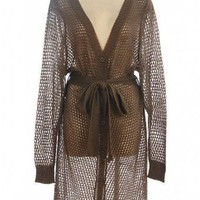 MOCHA FISHNET SWEATER KNIT CARDIGAN @ KiwiLook fashion