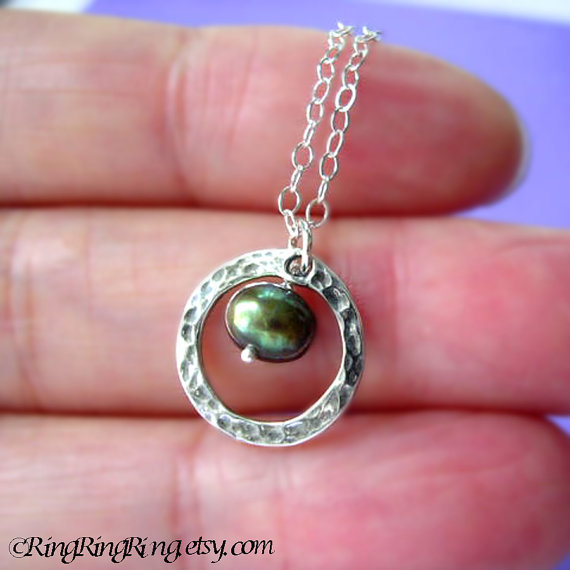 Black Genuine Pearl and 925 hammered ring on Sterling silver necklace.