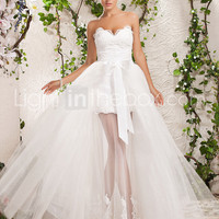 [US$ 479.99] Two-In-One A-line Princess Sweetheart Floor-length Tulle Wedding Dress