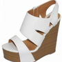 WHITE SIMPLIFIED STRAP WEDGE SANDALS @ KiwiLook fashion