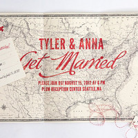Map Wedding invitation  X Marks the Spot by ellothere on Etsy
