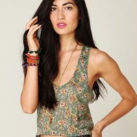 Free People Cropped Printed Crinkle Tank at Free People Clothing Boutique