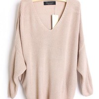 Loose Bat Sleeve Beige Sweater$45.00