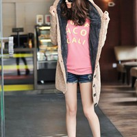 Plus Size Hooded Heart Print and Single Breasted Design Sweater For Women