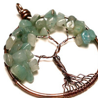 Green Aventurine Tree of Life Pendant in Earth Toned Copper- LUCK