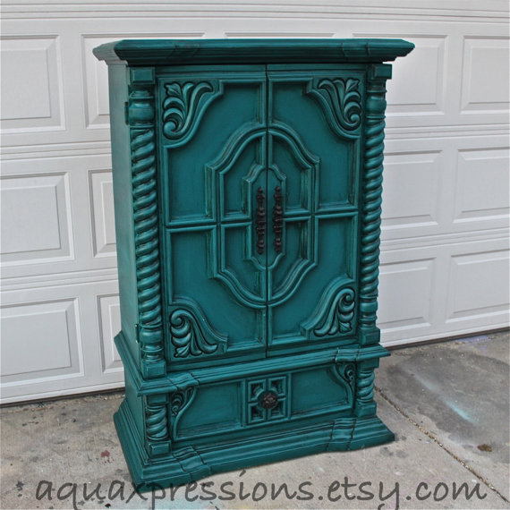 Vintage Armoire Gypsy Teal Bedroom from AquaXpressions