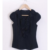 Lady Black Blends Slim Fit Ruffled V-neck Short Shirt S/M/L@Y490bl