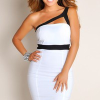 White Deja Vu One Shoulder Cut Out Wide Strap Club Dress