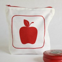 Zipper Pouch With Red Apple Screen .. on Luulla