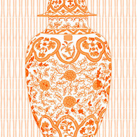 Ming Chinoiserie Ginger Jar in Orange 13x19 by thepinkpagoda