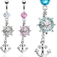 Dangling Anchor Belly rings from CherryKreations21