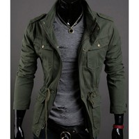 Army Green Men New Long Sleeve Stand Collar Jacket M/L/XL/XXL@X700NH11S0J09a
