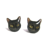 Cute Black Cat Kitten Stud Earrings - A14E84