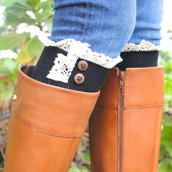 Boot Sock Cuffs in Black