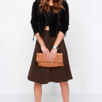 Jump in the Line Black and Brown Striped Midi Skirt