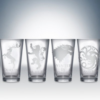 Game of Thrones House pint glass set