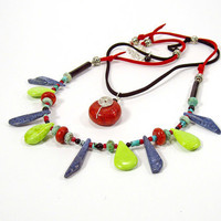 Tribal Necklace, Mexican Sun, 2 Strand Necklace, Colorful Jewelry, Sterling Silver