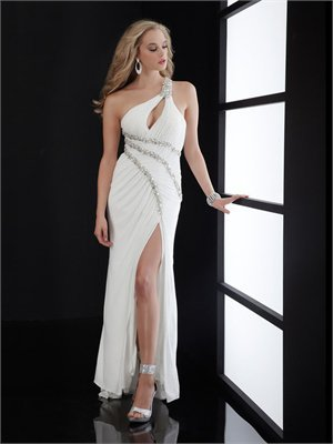 One-shoulder Column white Long with Sequins Prom Dress PD0811