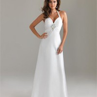 Beaded Halter A-line Sweetheart Drape Lowback White Floor-length Prom Dress PD0877