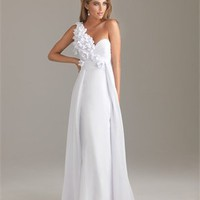 One-shoulder A-line Drape Chiffon Lowback White Floor-length with Applique Prom Dress PD0898