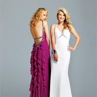 v-neck Column open back white or fuchsia Long with Sequins Prom Dress PD0914