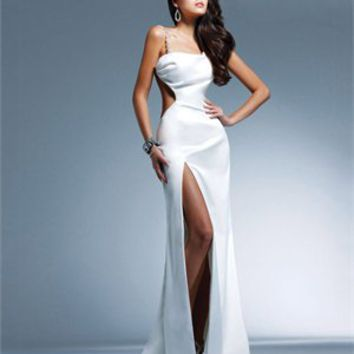 One-shoulder Column high slit white Long with Sequins Prom Dress PD0936