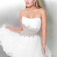 Strapless A-Line open back white Mini with Embroidery Prom Dress PD0973