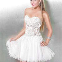 Sweetheart A-Line open back white Mini with Embroidery Prom Dress PD0975