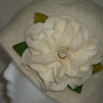 Felted Wool Hat  Ivory Felted Cloche Womans Hat in Merino Wool Large Flower