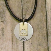Boys Personalized Necklace  -  Brass Peace Necklace - Custom Necklace for him - mens leather necklace