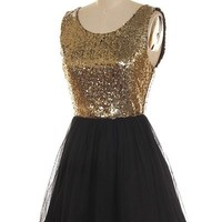 Gold Sequin and Black Tulle Skater Dress
