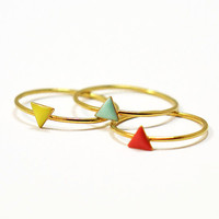 Tiny triangle ring- dainty ring- stackable ring- mini geometric ring