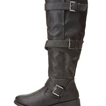 Bamboo Belt-Wrapped Knee-High Boots by Charlotte Russe - Black