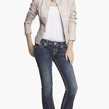 LOW RISE SUPER THICK STITCH BARELY BOOT JEAN from EXPRESS