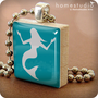 MERMAID (Blue) : a pendant charm made from a Scrabble Game Tile game piece