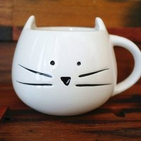 Lovely Cute Little White Cat Coffee Milk Ceramic Mug Cup (White)