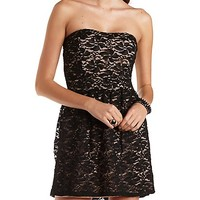Strapless Lace Skater Dress by Charlotte Russe - Black Combo