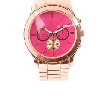 Pink-Faced Oversized Boyfriend Watch by Charlotte Russe - Rose Gold