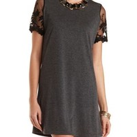 Lace Sleeve T-Shirt Dress by Charlotte Russe - Charcoal Heather
