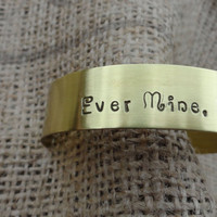 Ever Mine, Ever Thine, Ever Ours Brass Bangle Cuff Bracelet