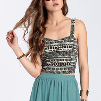 Lylie Tribal Crop Top by John Galt - $46.00: ThreadSence, Women&#x27;s Indie &amp; Bohemian Clothing, Dresses, &amp; Accessories