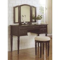3 pc Black finish wood make up bedroom vanity set with curved legs stool and tri fold mirror with multiple drawers- Poundex-For the Home-Bathroom Furniture-Bathroom Benches, Stools & Chairs