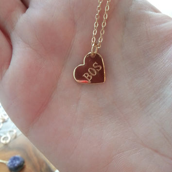 Beantown Love Stamped Heart Necklace - Gold