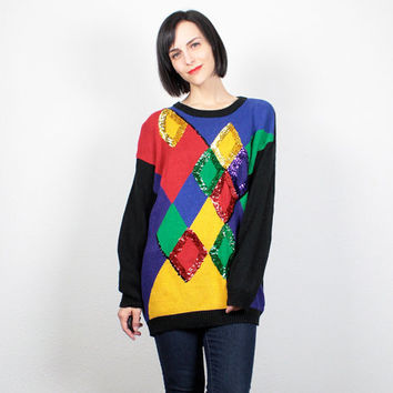 Vintage 90s Sweater Rainbow Harlequin Color Block Sweater New Wave Jumper Sequin Sweater Beaded Knit Oversized Pullover M Medium L Large